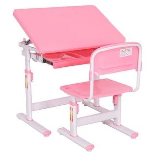 Costway Children Desk U0026 Chair Set Height Adjustable Student Study Kids Work  Station Pink