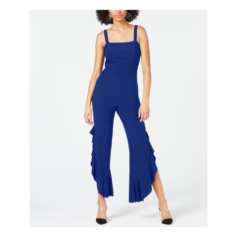 INC Womens Navy Sleeveless Square Neck Cocktail Jumpsuit Size 10