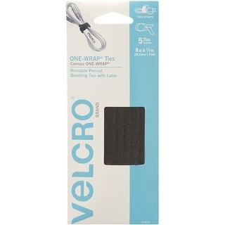 """Velcro(R) Brand One-Wrap(R) Ties W/Tabs .5""""X8"""" 5/Pkg-Black"""