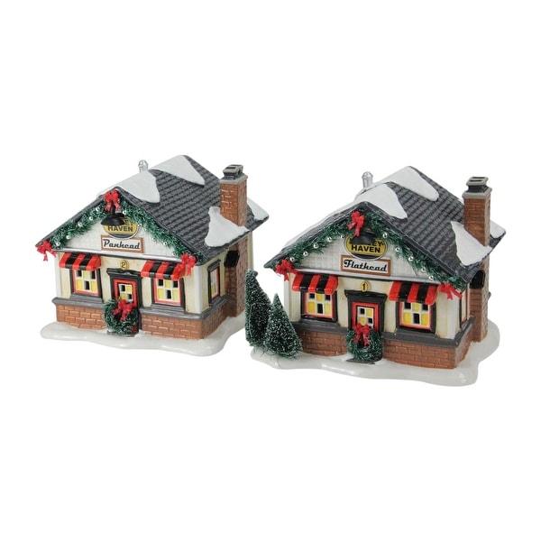 """Set of 2 Department 56 Snow Village """"Harley™ Roadside Cabins"""" LED Lighted Building #4030735"""