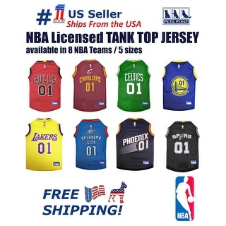 NBA Jersey for DOGS & CATS - Licensed, Comfy Mesh, 8 Basketball Teams / 5 sizes