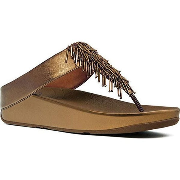 f83c76b7bdf9 Shop FitFlop Women s Cha Cha Thong Sandal Bronze Metallic Leather ...