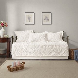 Link to Madison Park Aeriela White 5 Piece Tufted Cotton Chenille Daybed Set Similar Items in Daybed Covers & Sets