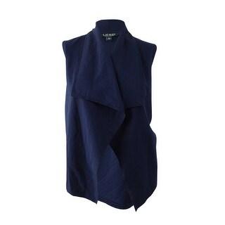 Lauren Ralph Lauren Women's Quilted Open-Front Vest (L, Navy) - navy - l