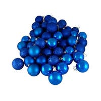 "24ct Lavish Blue 4-Finish Shatterproof Christmas Ball Ornaments 2.5"" (60mm)"