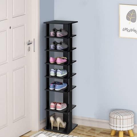 7-Tier Shoe Rack Practical Free Standing Shelves Storage Shelves -Black