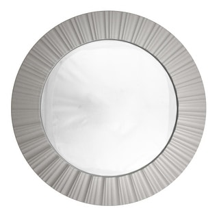 "20"" Simply Elegant Silver Fluted Frame Decorative Round Wall Mirror"