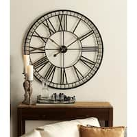"""40"""" Black and Gold Battery Operated Over-sized Classic Metal Wall Clocks"""