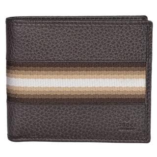 Gucci 231845 Men's Brown Calf Leather Tan Cream Web Stripe Bifold Wallet