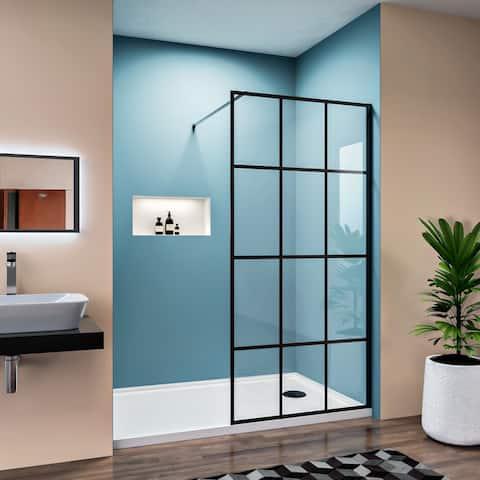 ELEGANT Fixed Framed Single Panel Shower Door Screen Black