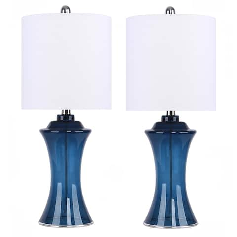 "24"" Colored Glass Table Lamps w/ Hourglass-Shaped Body & Off-White Linen Shade (Set of 2)"