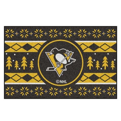 "Black and Yellow NHL Pittsburgh Penguins Rectangular Sweater Starter Mat 30"" x 19"" - N/A"