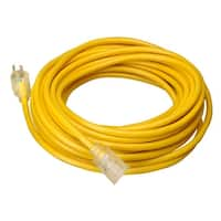 Coleman Cable 02688  Vinyl Outdoor 50' 10/3 Contractor Grade Extension Cord with Power Indicator Lamp, Reinforced Blades and