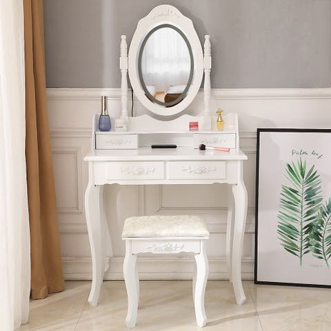 FCH LED Single Mirror 4/5 Drawer Dresser White