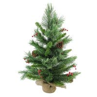 "24"" Mixed Cashmere  Berry Pine Artificial Christmas Tree - Unlit - green"