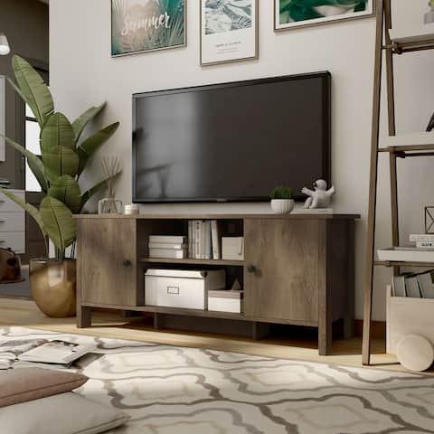 Carbon Loft Rogan Distressed Walnut 48-inch 6-shelf TV Console
