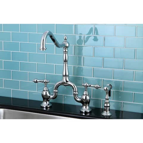 English Country Kitchen Bridge Faucet with Brass Sprayer