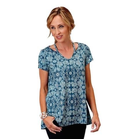 Roper Western Shirt Womens S/S Tunic Paisley Blue