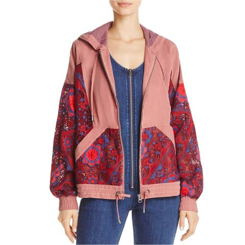Free People Womens Magpie Lace Hoodie Jacket, red, Small