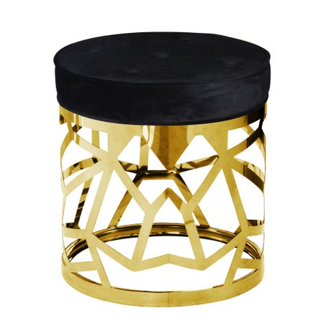 Round Fabric Upholstered Ottoman with Cut Out Metal Frame, Black and Gold