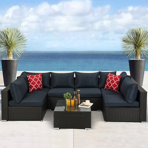Outdoor Rattan 7-piece Sectional Sofa with Cushion