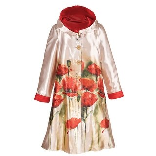 Women's Reversible Poppies Raincoat - Button Front Jacket with Hood