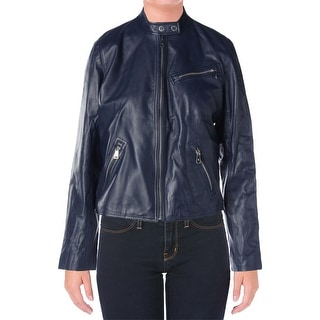 Ralph Lauren Womens Leather Coat Leather Lace Up