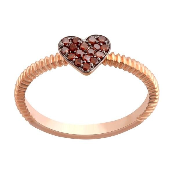 Prism Jewel 0.11Ct Round Cognac Diamond Heart Shape Valentine Ring