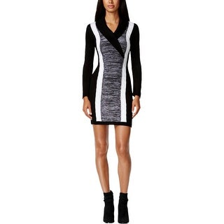 Calvin Klein Womens Petites Sweaterdress Cable Knit Colorblock