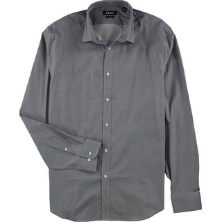 """Link to DKNY Mens Slim Fit Stretch Button Up Dress Shirt, Grey, 16.5"""" Neck 34""""-35"""" Sleeve Similar Items in Shirts"""