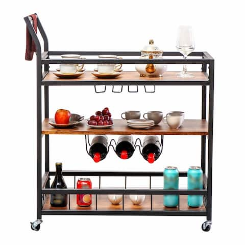 Costa Bar Cart For Home With 3 Tier Storage Shelves, Kitchen Cart Brown and Black Finished, Lockable Caster - N/A