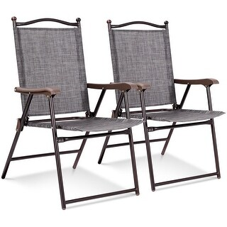 Costway Set of 2 Patio Folding Sling Back Chairs Camping Deck Garden Beach Gray - Set of 2