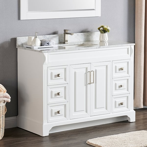 Shop Copper Grove Dian 48 Inch Single Sink Bathroom Vanity Set With Marble Or Quartz Top Overstock 30074142 White Marble Without Mirror,Clearest Water In The Us