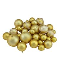 "39ct Gold Glamour Matte and Glitter Shatterproof Christmas Ball Ornaments 2""-4"""