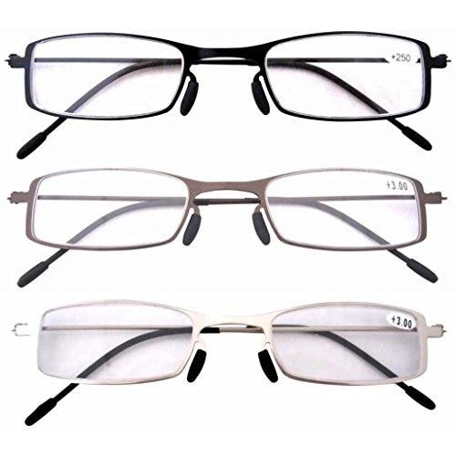 Eyekepper 3 Pcs Lightweight Stainless Steel Frame  Reading Glasses+2.5