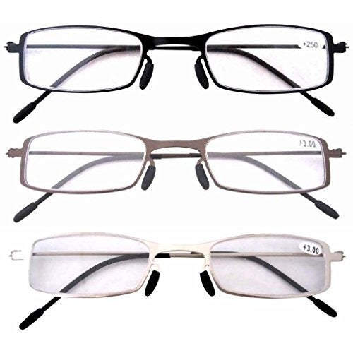 Eyekepper 3 Pcs Lightweight Stainless Steel Frame Reading Glasses+3.0