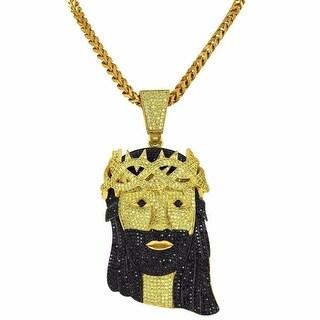Hip Hop Mens Jesus Piece Pendant Black Yellow Lab Diamonds Franco Necklace