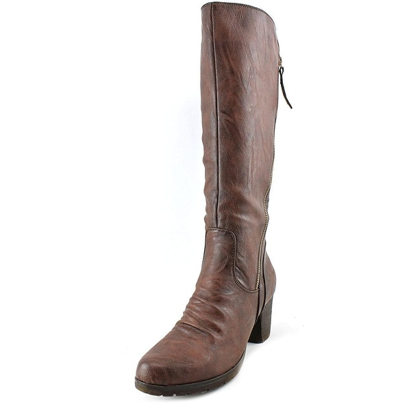 Patrizia By Spring Step Highness Women Round Toe Leather Brown Knee High Boot