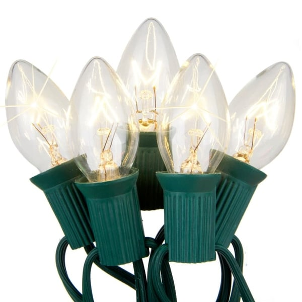 Wintergreen Lighting 67241 25 C7 Twinkle 5W Holiday Bulbs on Green Wire