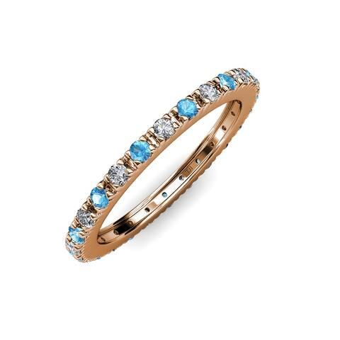 TriJewels Blue Topaz Diamond 3/4 ctw French Set Eternity Ring 14K Gold