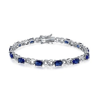 Bling Jewelry CZ Blue Figure 8 Infinity Tennis Bracelet 7in Rhodium Plated