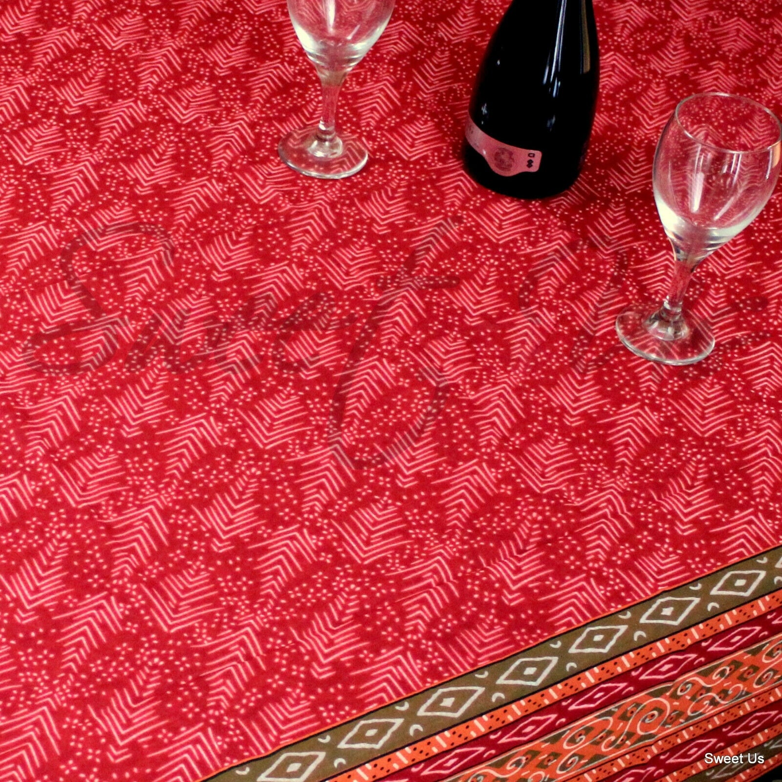 Cotton Calico Block Print Round Tablecloth Rectangle Square Table Linen For Dining Kitchen Overstock 12085058