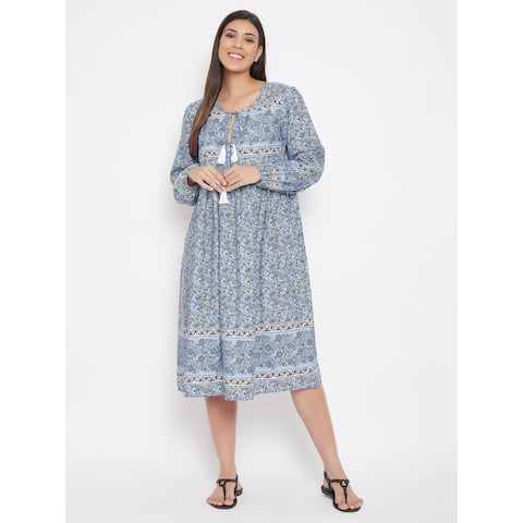 Oussum Womens Casual Floral Dress Cotton Summer Midi Printed Maxi Dresses With Sleeves For Ladies Girls