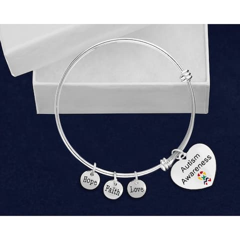 Heart Autism Awareness Retractable Charm Bracelet - Silver