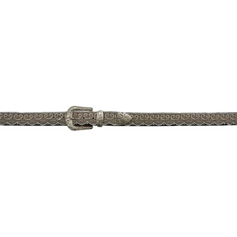 Angel Ranch Western Belt Womens Lace Bead Overlay Croc Brown