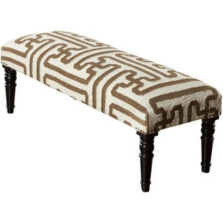 "46"" Chocolate Brown and Cream Upholstered Wool and Wooden Foot Stool Ottoman"