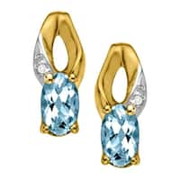 3/8 ct Natural Aquamarine Earrings with Diamonds in 10K Gold - Blue