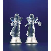 Pack of 8 Icy Crystal Illuminated Peace and Love Angel Girl Figurines 5""