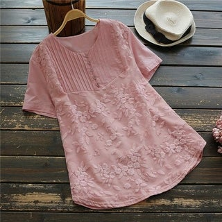 Top Pleated Embroidered Tunic