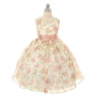 Kids Dream Little Girls Vintage Rose Organza Floral Easter Dress 2T-12